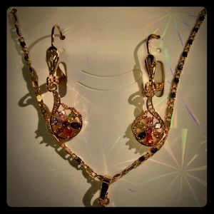 18k Gold plates earring with necklace